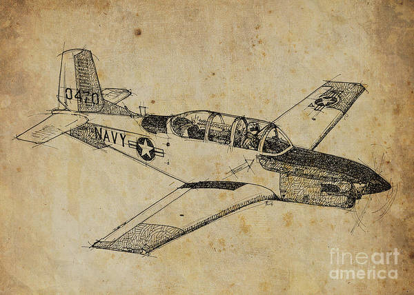 Airplane Drawing - Plane 03 by Drawspots Illustrations