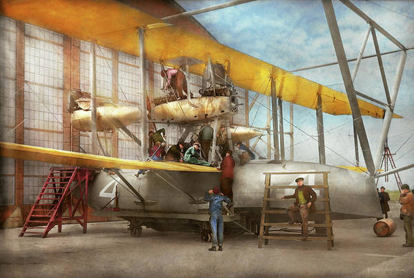 Photograph - Plane - Biplane - Getting Ready For A Long Flight 1919 by Mike Savad