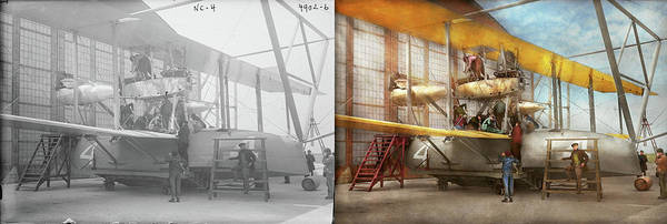 Photograph - Plane - Biplane - Getting Ready For A Long Flight 1919 - Side By Side by Mike Savad