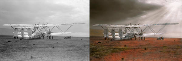 Wall Art - Photograph - Plane - Hanno Ready To Take Off 1931 - Side By Side by Mike Savad