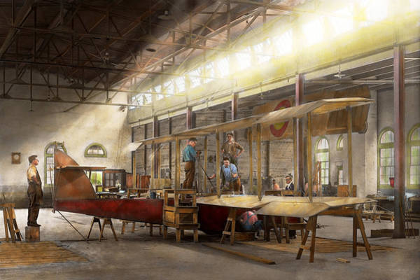 Photograph - Plane - In The Airplane Factory 1918 by Mike Savad