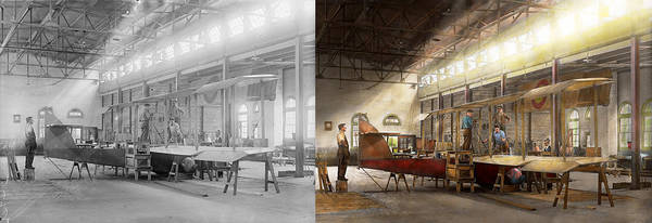 Wall Art - Photograph - Plane - In The Airplane Factory 1918 - Side By Side by Mike Savad