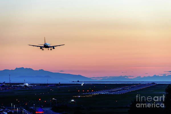 Evening Wall Art - Photograph - Planes Landing At Sunset by Viktor Birkus
