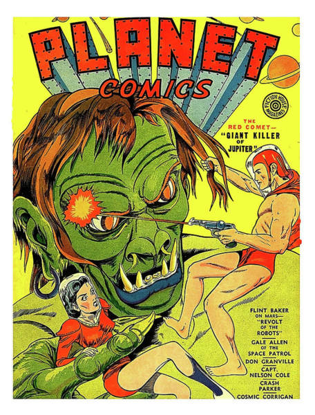 Killer Painting - Planet Comics, Giant Killer Of Jupiter, Science Fiction Comic Book Cover by Long Shot