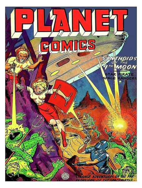 Wall Art - Painting - Planet Comics, Synthoids Of 9th. Moon, Comic Book Sci-fi Cover by Long Shot