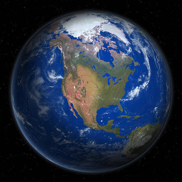 Square Digital Art - Planet Earth From Space, North America Prominent by Saul Gravy