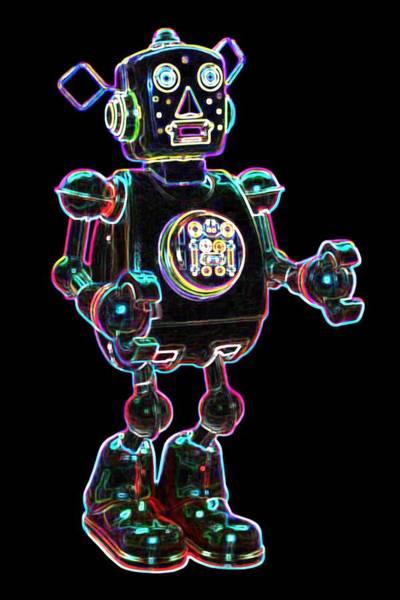 Neon Digital Art - Planet Robot by DB Artist