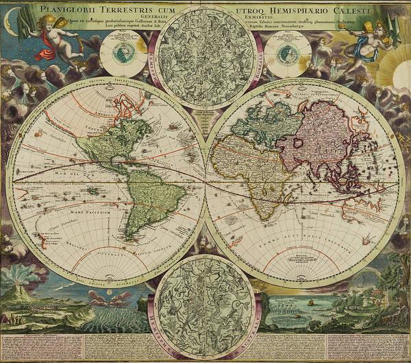 Painting - Planiglobii Terrestris World Map by Johann Baptiste Homann
