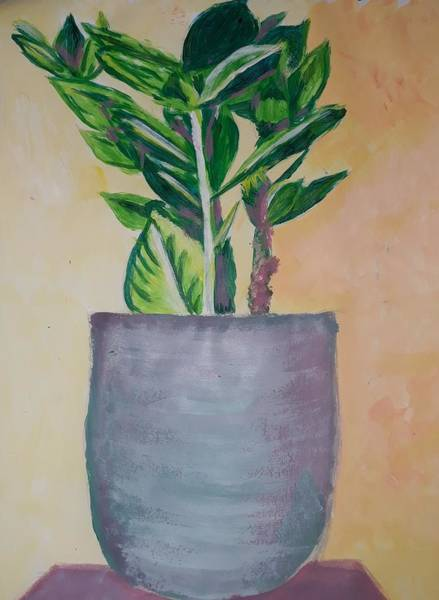 Acrilic Painting - Plant 2 by Maria Lenilda Oliveira