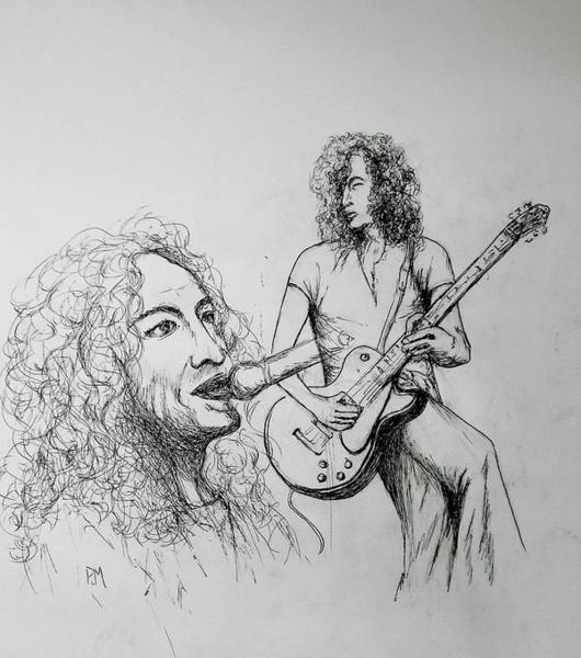 Rock And Roll Jimmy Page Wall Art - Drawing - Plant And Page by Pete Maier