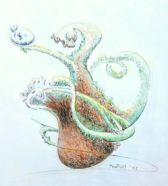 Drawing - Planter With Whale by Dave Martsolf