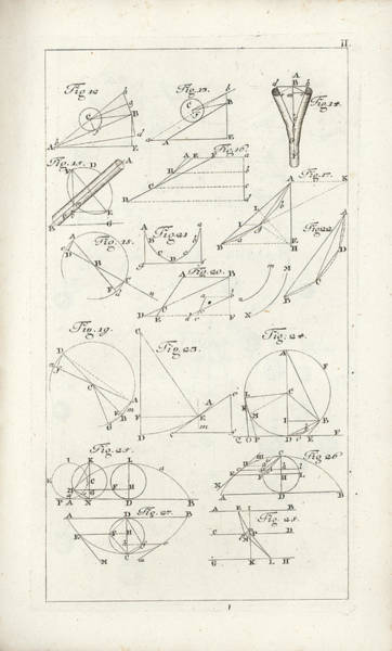 Drawing - Plate 2 From Tractatio De Theoria Descensus Et Ascensus Gravium Obliqui Ejusque Multiplici Applicati by Joseph Anton Zimermann
