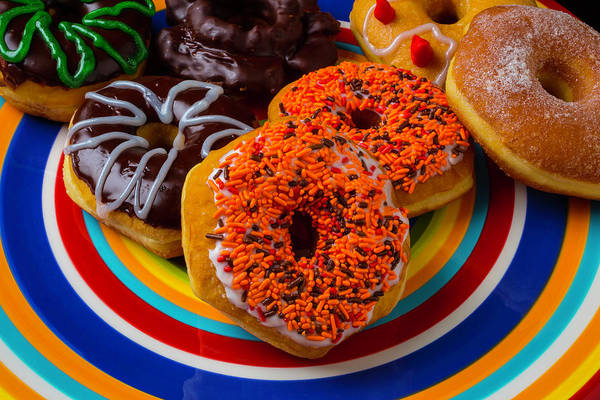 Glazed Wall Art - Photograph - Plate Of Donuts by Garry Gay