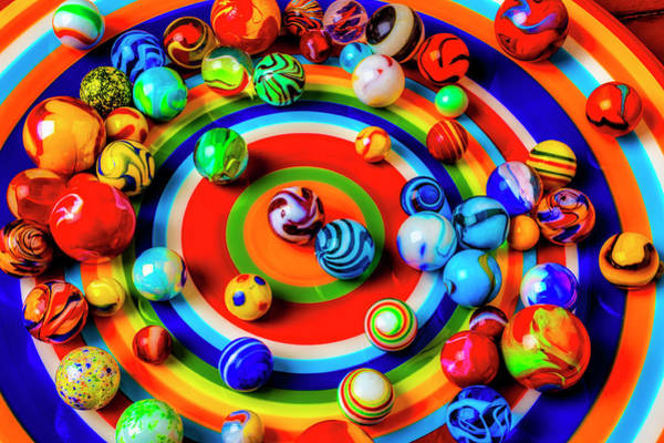Wall Art - Photograph - Plate With Colorful Marbles by Garry Gay