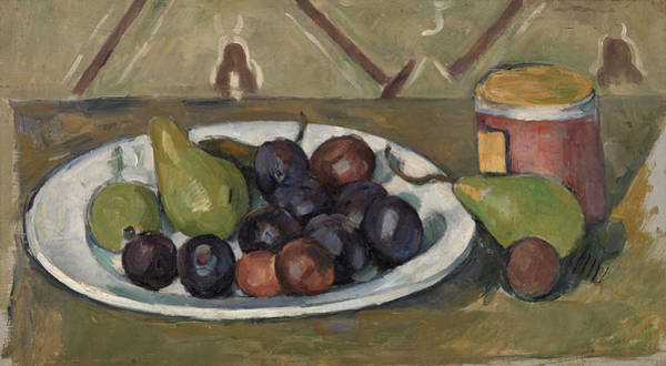 Apple Peel Wall Art - Painting - Plate With Fruit And Pot Of Preserves by Paul Cezanne