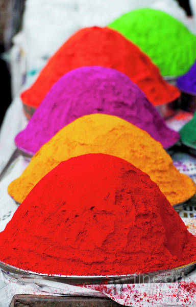 Holi Photograph - Plates Of Coloured Powder by Tim Gainey