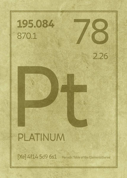 Elements Mixed Media - Platinum Element Symbol Periodic Table Series 078 by Design Turnpike