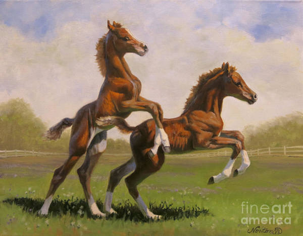 Foal Wall Art - Painting - Play Date by Jeanne Newton Schoborg