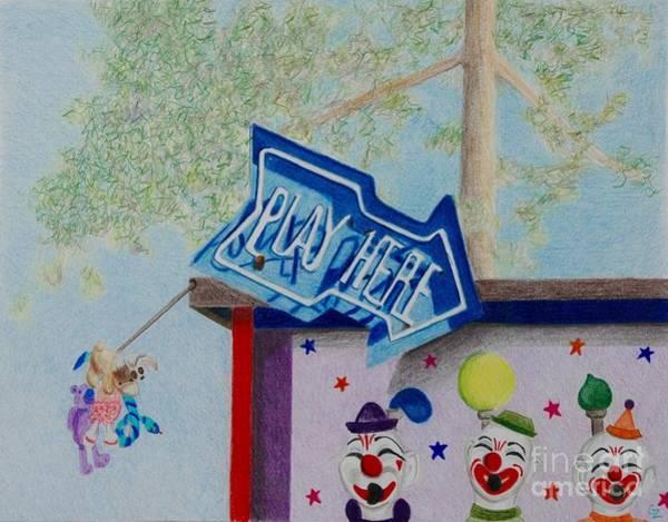 Neon Drawing - Play Here by Glenda Zuckerman