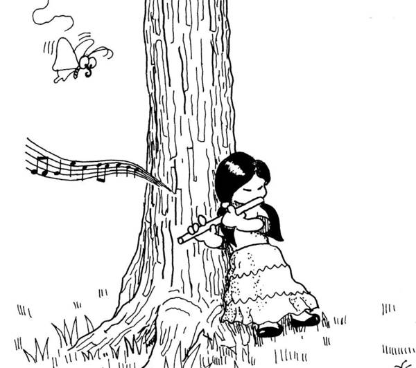Drawing - Play The Flute Under The Tree by Minami Daminami