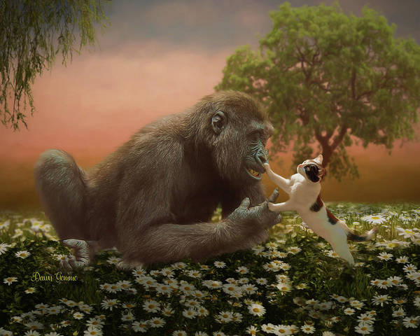 Baby Gorilla Painting - Play Time by Dawn Gemme