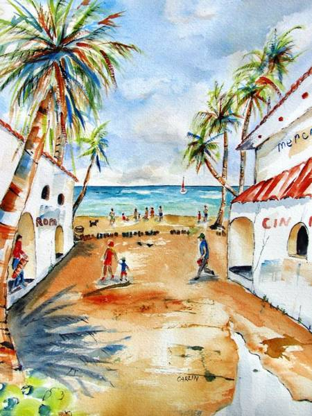 Shopping Painting - Playa Del Carmen by Carlin Blahnik CarlinArtWatercolor