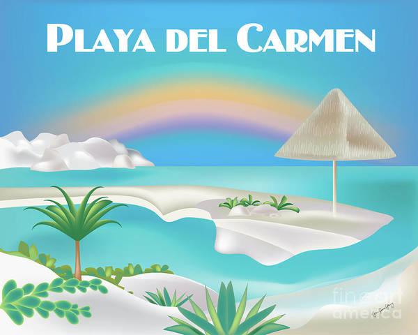 Wall Art - Digital Art - Playa Del Carmen Mexico Horizontal Scene by Karen Young