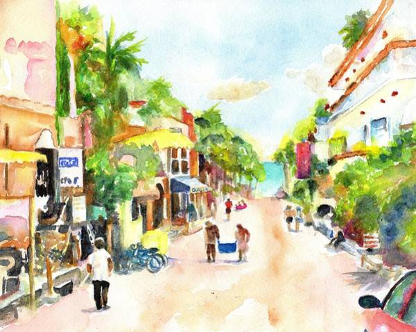 Mall Painting - Playa Del Carmen Mexico Shops by Carlin Blahnik CarlinArtWatercolor