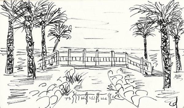 Drawing - Playa Playamar In Torremolinos by Chani Demuijlder