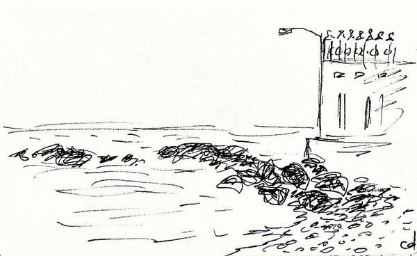 Drawing - Playa Torremuelle In Benalmadena by Chani Demuijlder