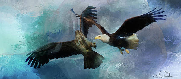 Digital Art - Playful Eagles by Gloria Anderson