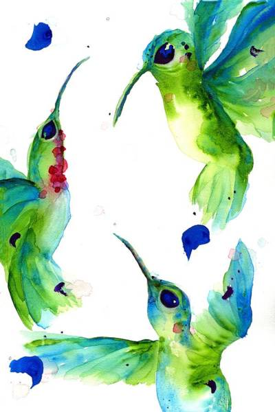 Painting - Playful Hummers by Dawn Derman