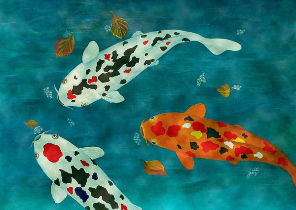 Painting - Playful Koi Fishes Original Acrylic Painting by Georgeta Blanaru