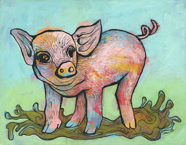 Painting - Playful Piglet by Darcy Lee Saxton