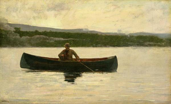 Canoeist Wall Art - Painting - Playing A Fish by Winslow Homer