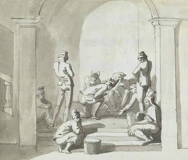 Drawing - Playing At Dice, Trepani by Henry Tresham