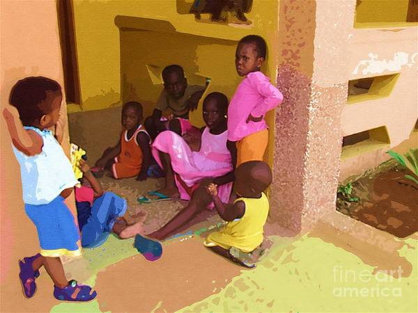 Ghana Painting - Playing At Hands Of Mercy by Deborah Selib-Haig DMacq