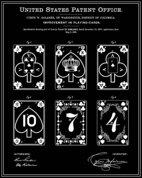 Deck Of Cards Digital Art - Playing Cards Patent - Black by Finlay McNevin
