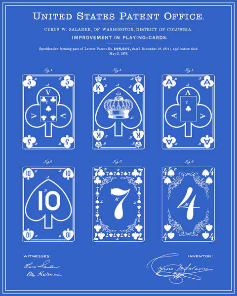 Deck Of Cards Digital Art - Playing Cards Patent - Blueprint by Finlay McNevin