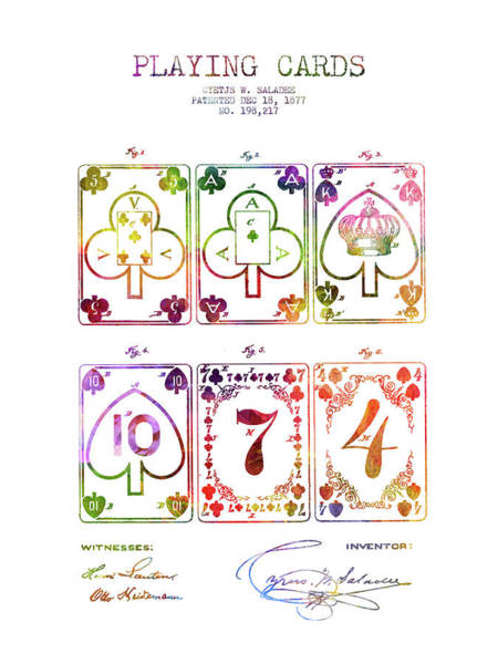 Playing Digital Art - Playing Cards  Patent Drawing From 1877 - Rainbow by Aged Pixel