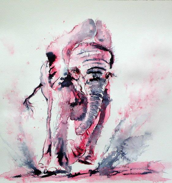 Wild Life Painting - Playing Elephant Baby by Kovacs Anna Brigitta