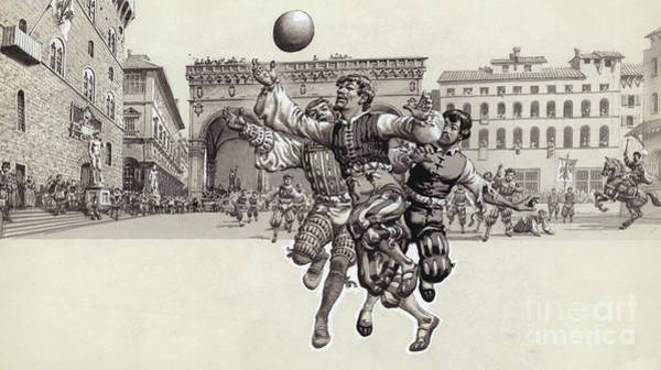 Wall Art - Painting - Playing Football In Florence  by Pat Nicolle