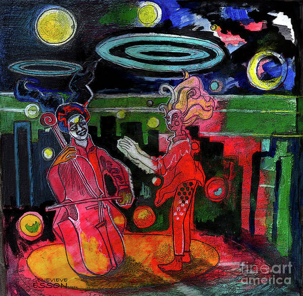 Cellist Painting - Playing For Time Cityscape by Genevieve Esson