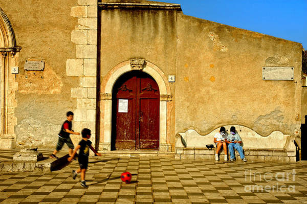 Italian Football Wall Art - Photograph - Playing In Taormina by Silvia Ganora