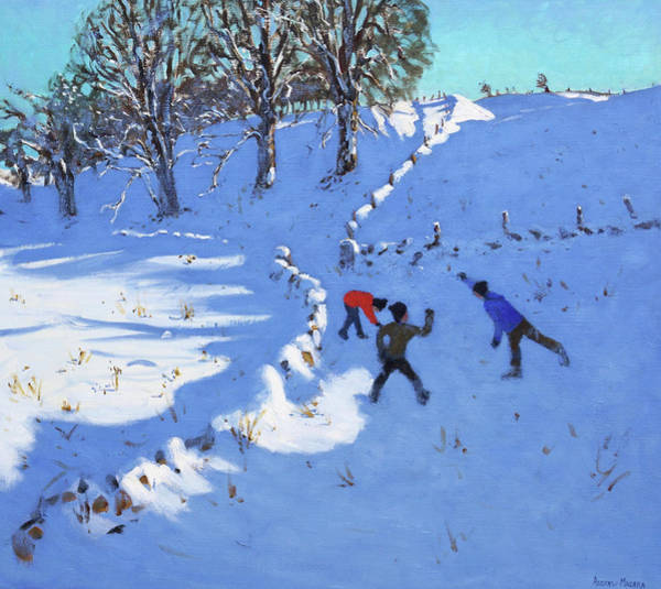Throwing Wall Art - Painting - Playing In The Snow Youlgrave, Derbyshire by Andrew Macara