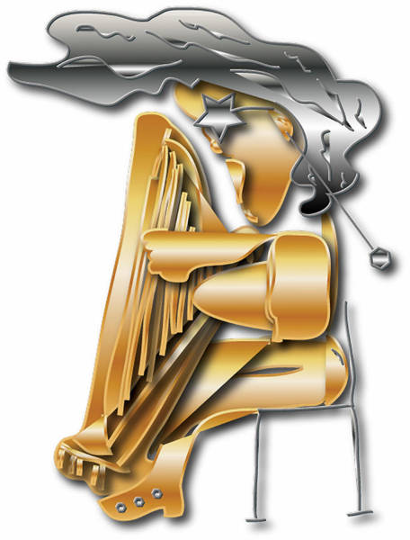 Harp Mixed Media - Playing The Harp by Love Art