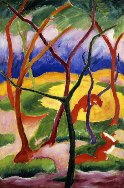 Weasel Wall Art - Painting - Playing Weasels by Franz Marc