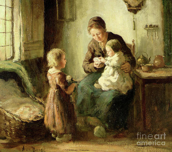 Painting - Playing With Baby by Adolf-Julius Berg