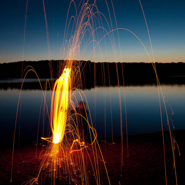 Steel Wool Photograph - Playing With Fire At Nicks Lake by David Patterson