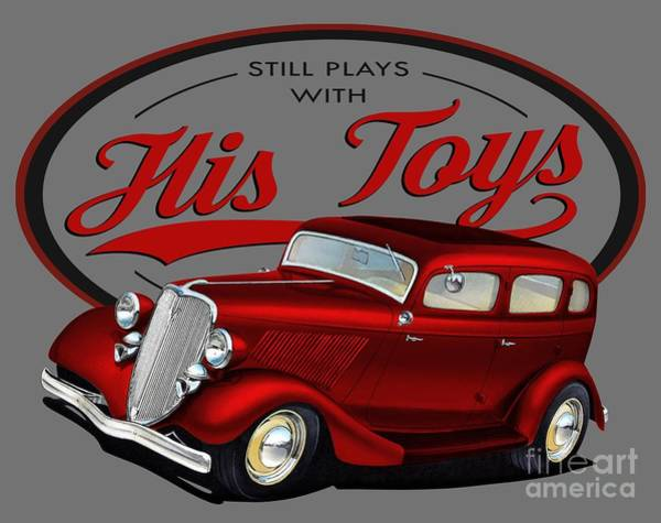 Hot Rod Digital Art - Plays With His Fords by Paul Kuras